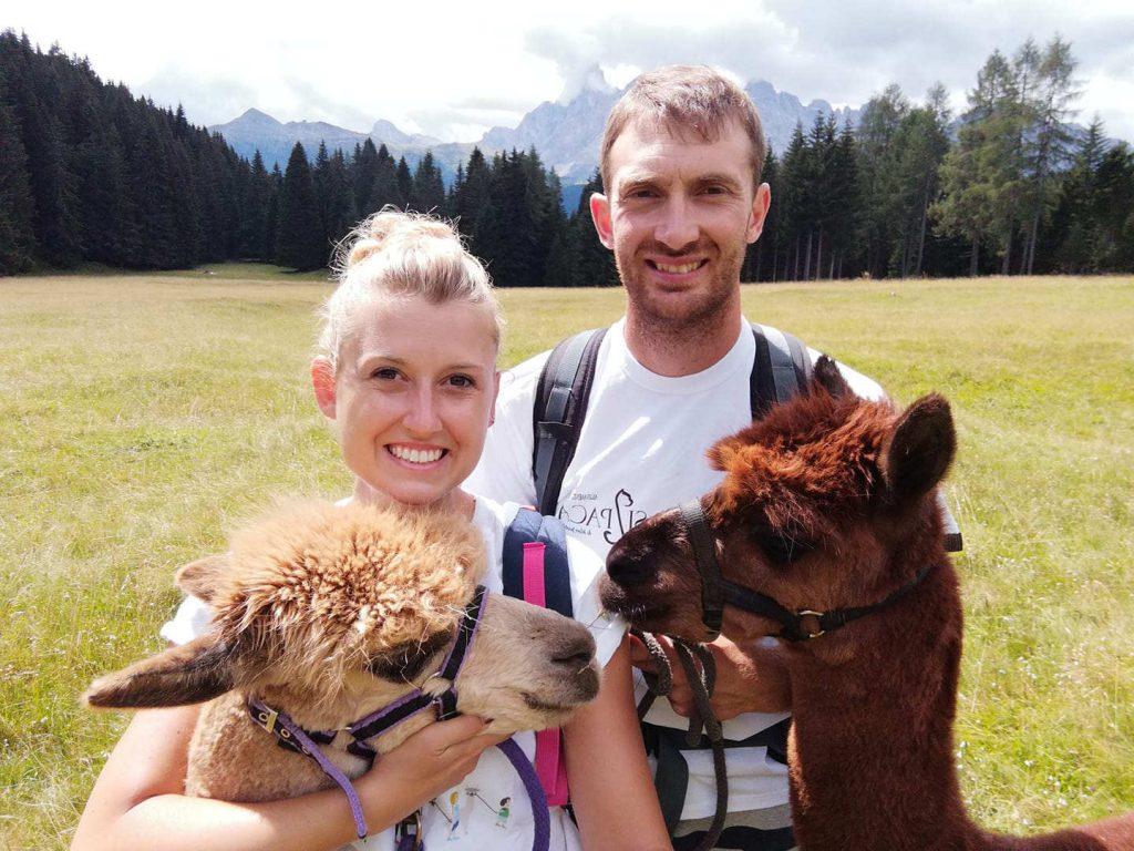 Ilaria und Silvio von Silpaca mit zwei ihrer Alpaka-Tiere vor der Kulisse der Berge im Cembratal. Foto: Silpaca für Noromaniac