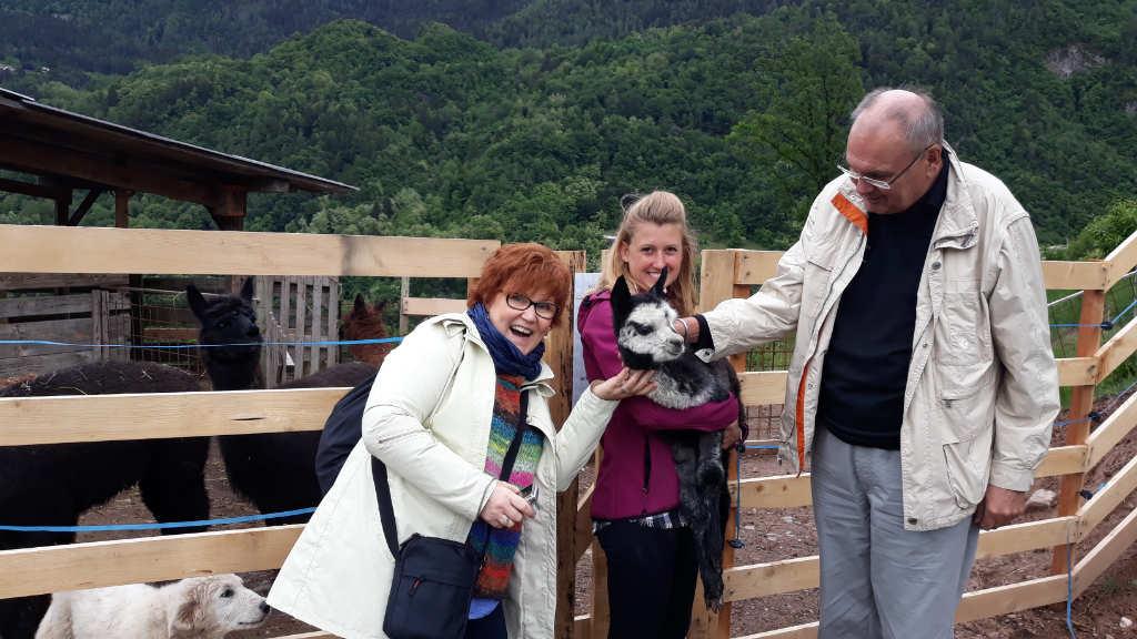 Katrin Walter krault dem Alpaka Amy den Hals, das Ilaria auf dem Arm hält. Daneben steht Dieter Kapitz, ein Cembratal-Kenner. Foto: Mara Lona für Noromaniac