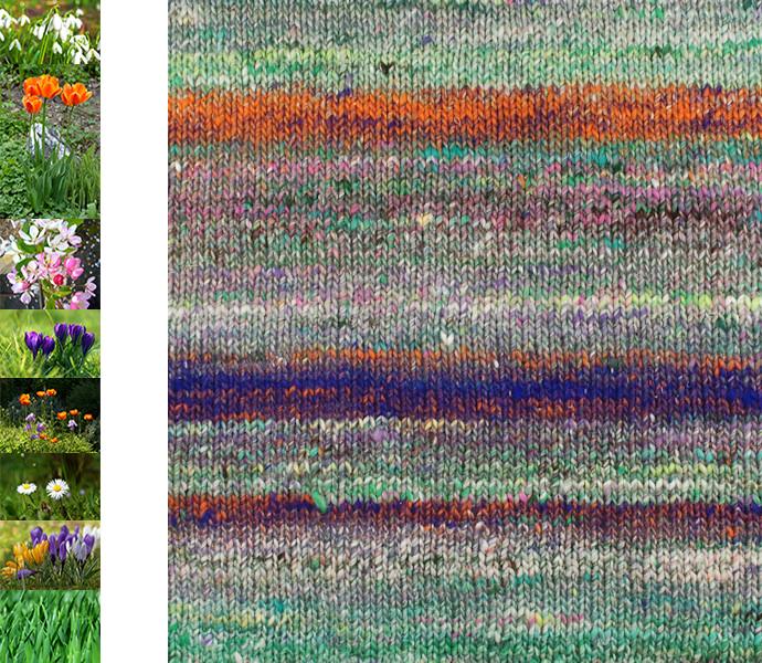 Der Farbrapport der Noro Kibou 5 mit Assoziationen an grène Wiesen mit Frèhlingsblumen (Fotos Blumenwiesen aus Pixabay)