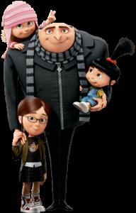 Gru mit seinem typischen Schal und mit Agnes, Edith und Margo.