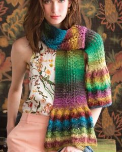 Ruffled-edge Scarf designed by Lisa Craig of Noro Silk Garden Lite 2082