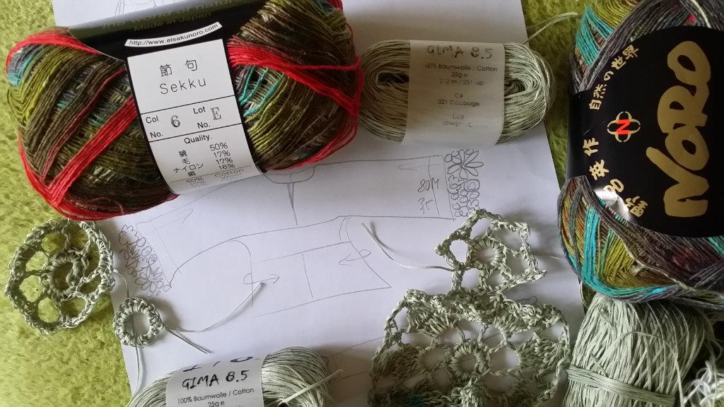 Zeichnung einer Idee für den Kimonopulli aus Noro Sekku und Ito Gima 8.5. Foto: Noromaniac, Katrin Walter