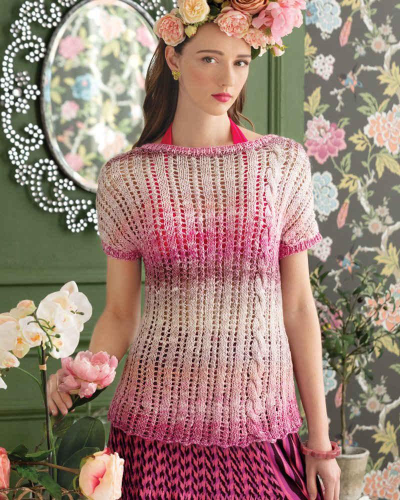 Oberteil mit Lace- und Zopfmuster gestrickt aus dem Norogarn Akari 09 in Rosatönen, designt von Terri Rosenthal