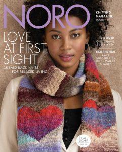 Das Cover des NoroKnitting Magazines 18 mit dem berühmten Herzschal aus der Noro Kureyon.