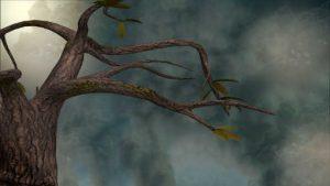 Fast kahler Baum im Nebel. Illustration für Holla die Waldfee Tuch aus Noro Silk Garden Sock #370. Foto: Pixabay für Noromaniac