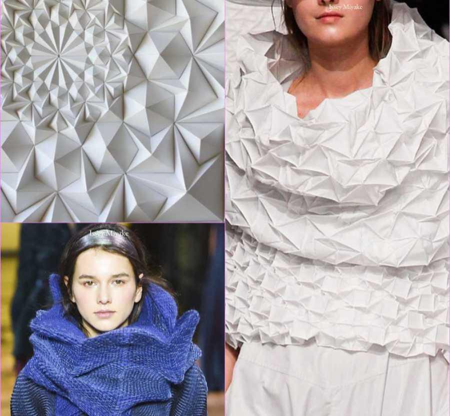 Issye Miyaki -folded fabric designs - inspiration for Margie's knitwear design. Photos: Issye Miyaki