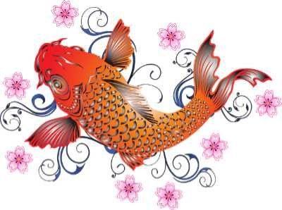 Zeichnung eines Koi-Karpfens als Illustration für das Ms Koi-Strickkleid von Noromaniac