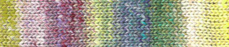 Farbe #03 Nara mit hellem Gelb, Grün, Blau und einem dunklen Pink Farbrapport Eisaku Noro/Knittingfever – Garn-Rezension Noromaniac