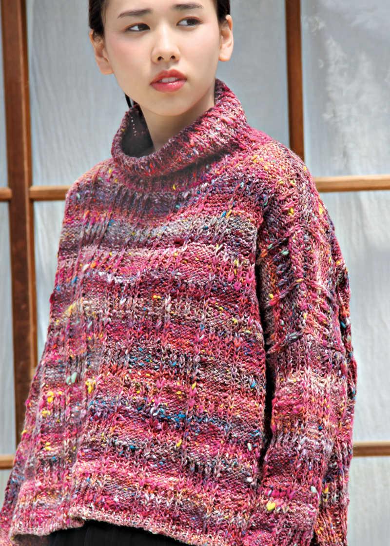 Weiter Pullover aus Kotori 16 in Burgunder- und Pink-Farben