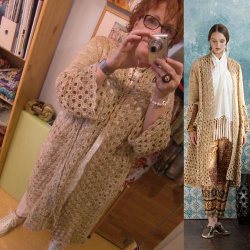 Katrin Walter mit ihrem Knit & Crochet Coat aus Noro Kumo #15 erschienen im Noro Knitting Magazine 16 - Noromaniac