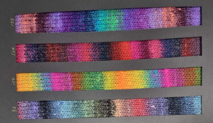 Noro Kureyon Farbkarte Retro Collection 2021 mit den Farben #153, #124, #154 und #92 - Foto: Norowolle von Knittingfever / Eisaku Noro - Noromaniac