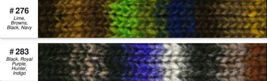 Farbkarte der Farben #276 und #283 aus der Noro Kureyon Retro Collection 2021. Foto: Norowolle von Knittingfever / Eisaku Noro