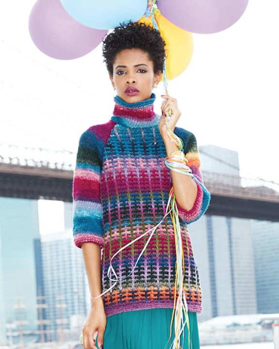 """Von Stacey Gerbman designter Pulli """"A-Line Raglan Tunic"""" aus den Farben #170 und #188 in Balu, Pink, Rosa, Gelb und Orange. - Noromaniac"""