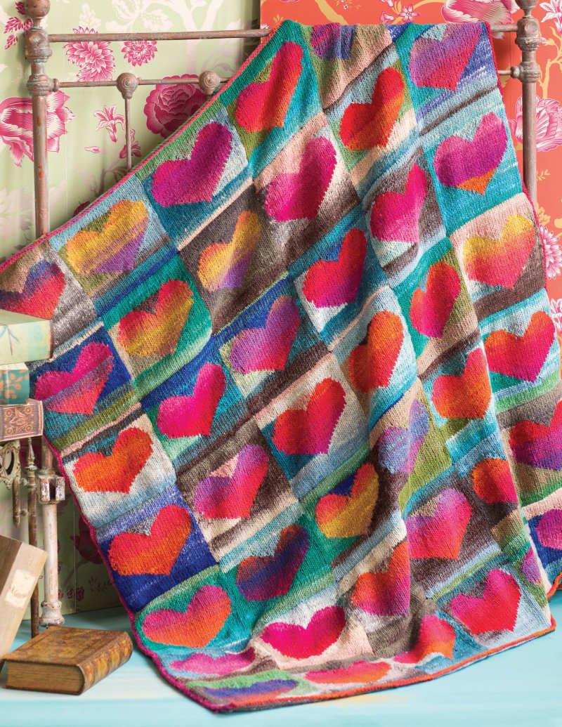 """Die sehr beliebte Noro-Herzdecke """"Heart Blanket"""" designt von Bonnie Franz besteht im Original gleich aus drei Farben der Noro Kureyon: #102, #344, #343 - Noromaniac"""