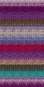 Der Farbrapport der Wolle mit seinem Margenta, Lila, Flieder, Jade, Olivbraun, Offwhite, sehr hellem Rosa und hellem Jeansblau.