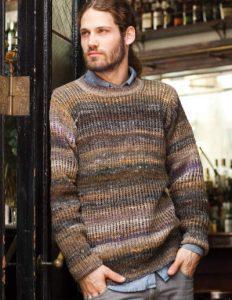 Mans Ribbed Sweater aus der Farbe #149 von Kenny Chua. Gestrickter Pullover im Rippenmuster in Brauntönen mit etwas Grau - Noromaniac