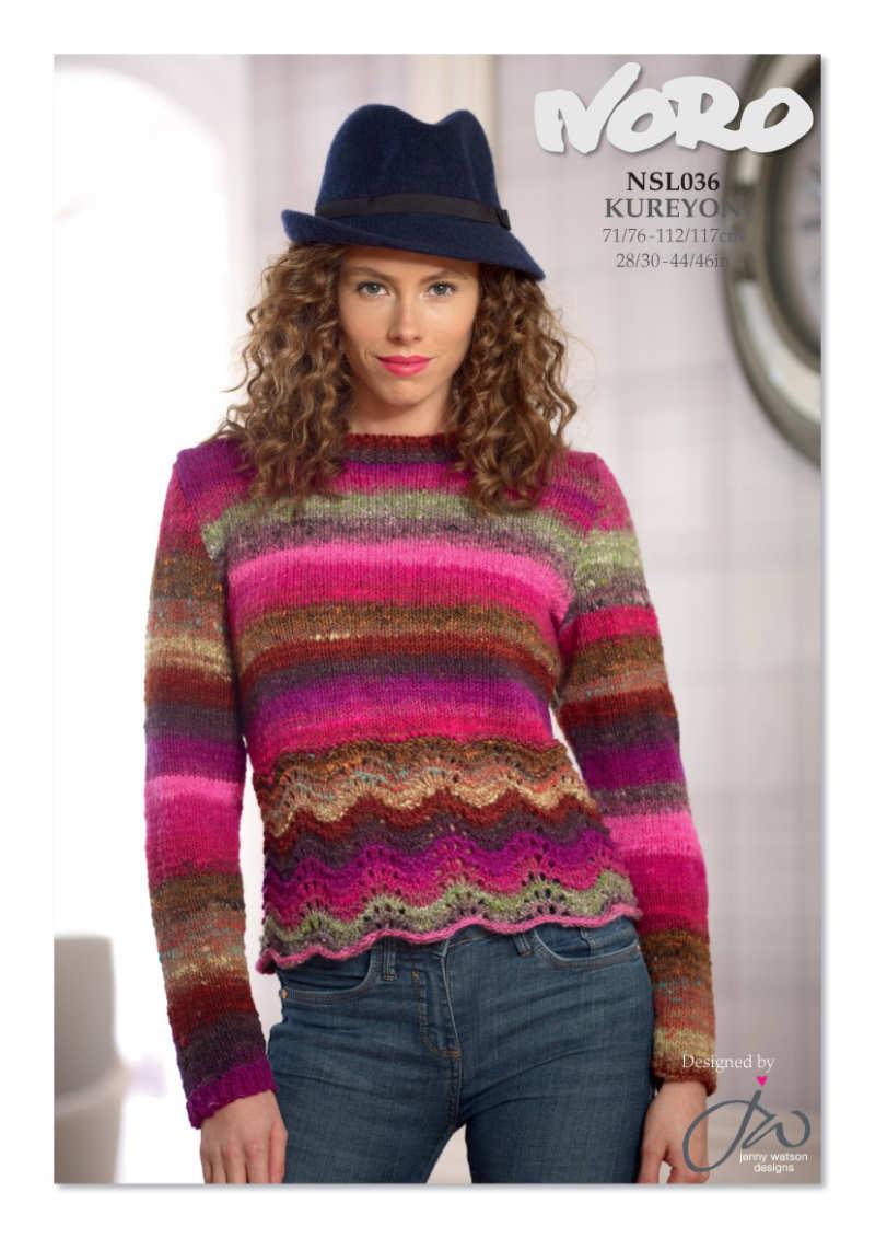 Damen-Pullover aus der Noro Kureyon Farbe #374 mit knalligem Pink aber sonst vielen warmen Gold- und Brauntönen - Noromaniac