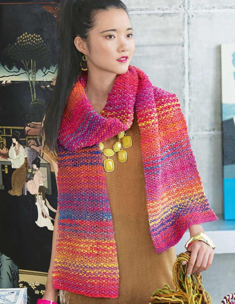 """Einfacher Schal im Perlmuster in Pink und Gelb der Farbe #102. Dieser """"Seeding""""-Shawl ist von Rosemary Drysale - Noromaniac"""