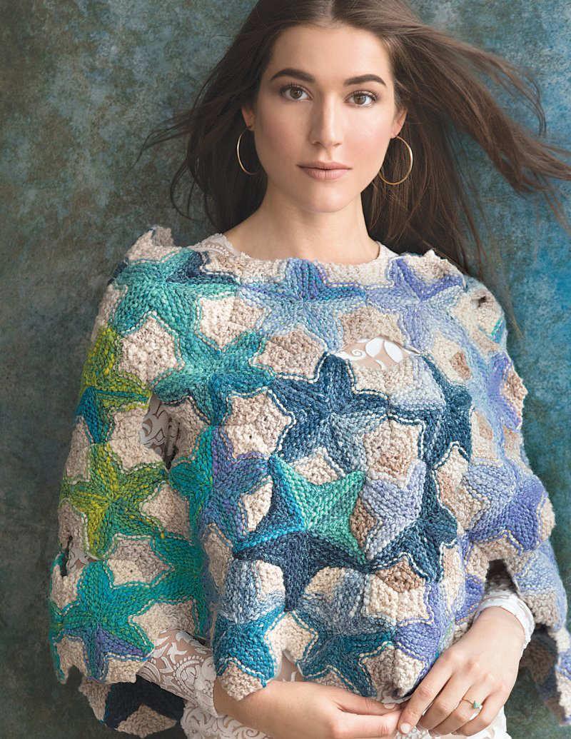 Überwurf mit Sternenmotiven, den Sternshawl aus der Wolle Noro Kureyon in den Farben #359 und #211, designt von Unjung Yun - Noromaniac