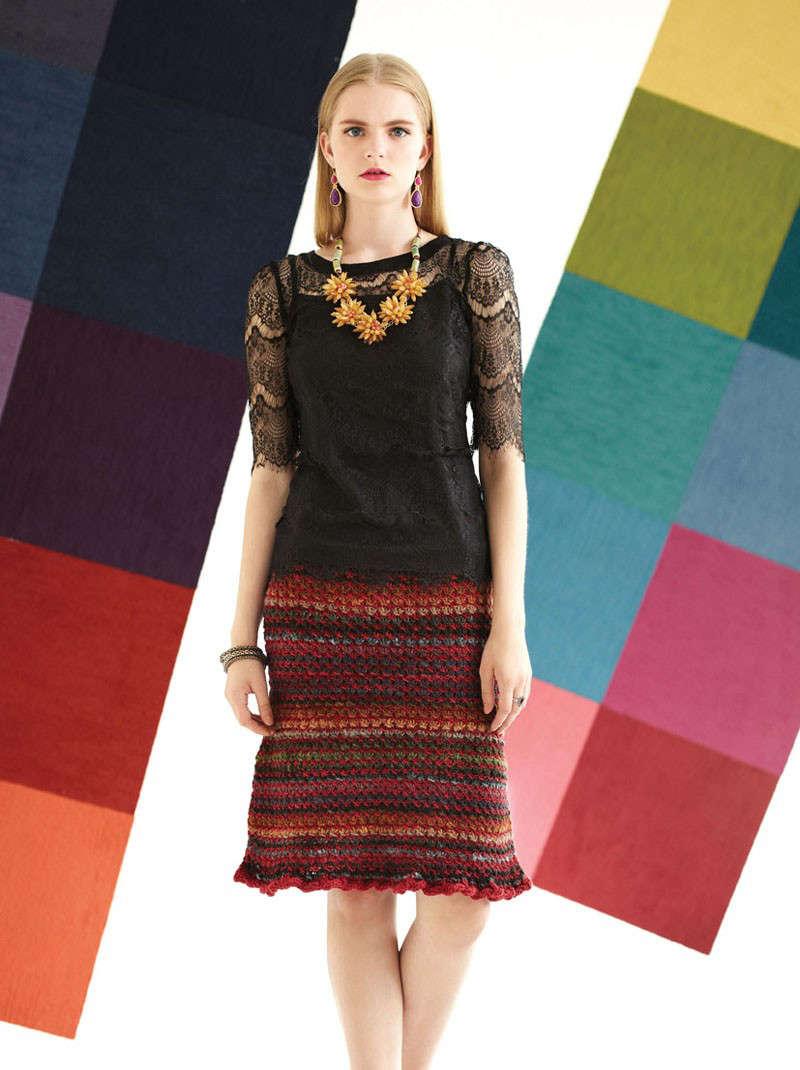 """Leicht ausgestellter, knielanger """"Quilted Skirt"""" von Carolyn Noyes aus der Farbe #242 mit Grüntönen, zusammen mit einer rostfarbenen Merinowolle verarbeitet, mit Rüsche unten - Noromaniac"""
