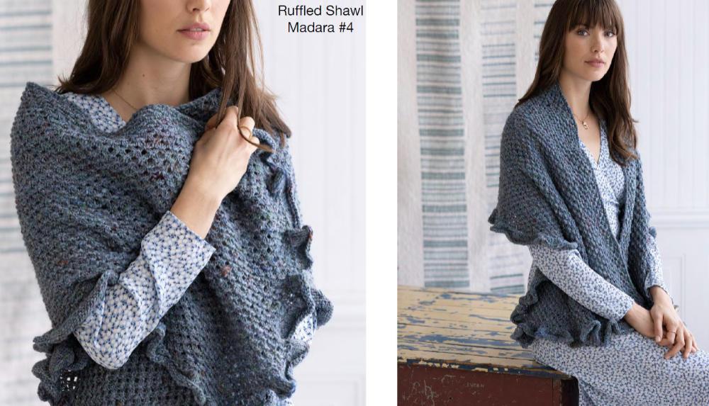"""Das Tuch """"Fillbert"""" von Lori Steinberg in Noro Madara #04 Mizu, einem Graublau, das zu vielem passt. Foto aus Noro Knitting Magazine 19"""