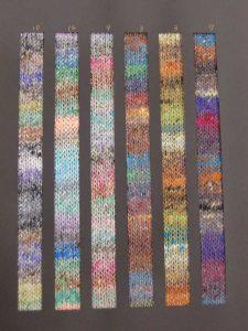 Noro Mirai die Farbrapporte von 6 Farben dieses Garns. Foto Katrin Walter - Noromaniac