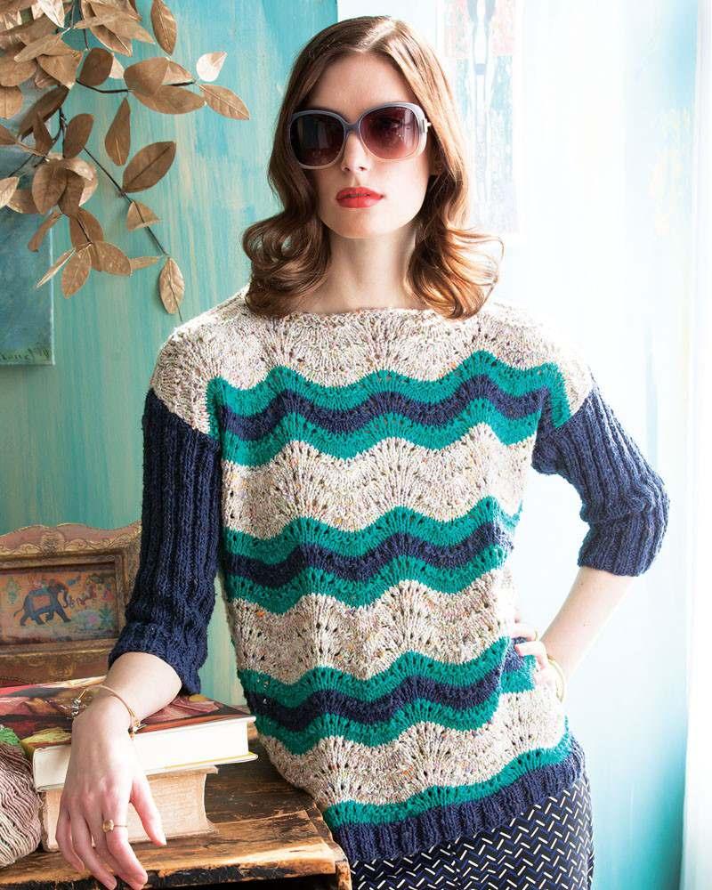 Wavy Stripes Pullover von Jacqueline van Dilleneinen aus drei Farben der Noro Tokonatsu: 101, 05 und 08 (Foto: Noro Magazine) - Noromaniac