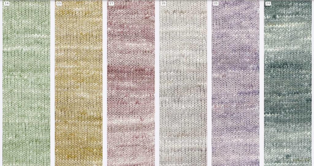 Ein Teil der aktuellen Farben 2019 des Garns Noro Kumo: 14, 15, 17, 20, 21 und 24. Noromaniac