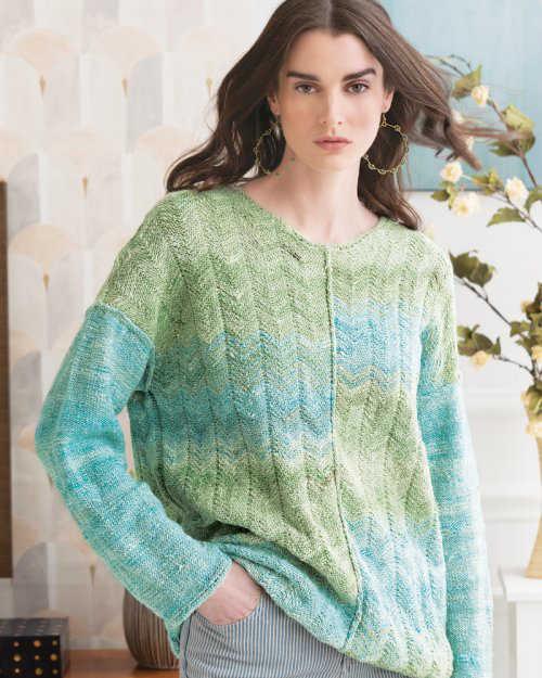Pullover in türkis-grün aus der Noro Kumo #03 und Noro Kumo #14 im Wechsel von Jacqueline van Dillen. Foto Noro Magazin. Blog Noromaniac