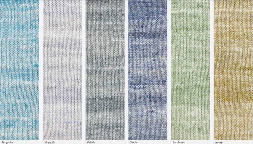 Die Farben #03, #06, #09, #11, #14 und #15 der Noro Kumo. Abbildungen Noro/KFI