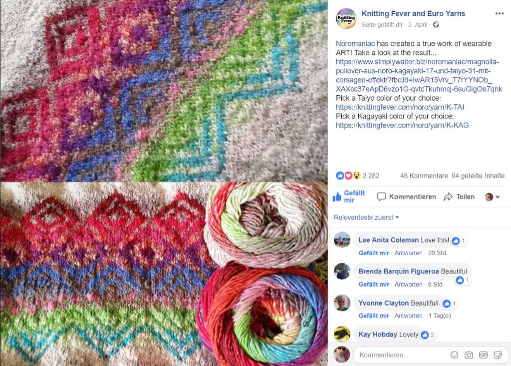 Screenshot vom erfolgreichen Facebook-Post bei Knittingfever von Noromaniacs Modell aus Noro Kagayaki und Noro Taiyo mit mehr als 2280 Likes.