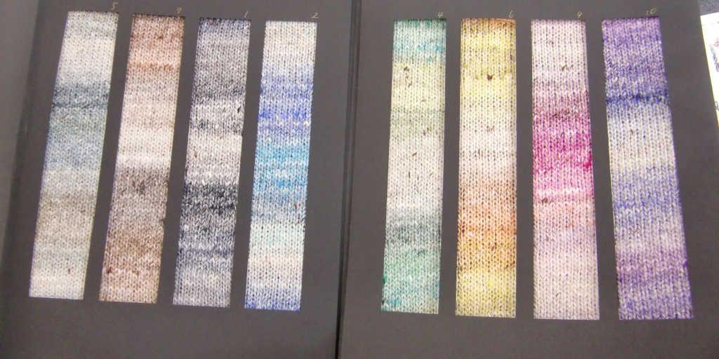 Die Farbrapporte der Noro Akari, eines der Garne von Noro/Knittingfever, vorgestellt auf der Messe h+h 2019 in Köln. Foto Katrin Walter, Noromaniac