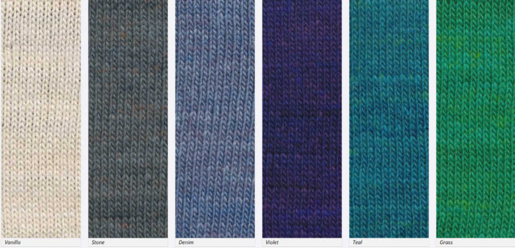 Ein Teil der Farbpalette von Noro Sonata; hier die Farben #01, #03, #04, #05, #06 und #7 (Noromaniac) #NoroSonata