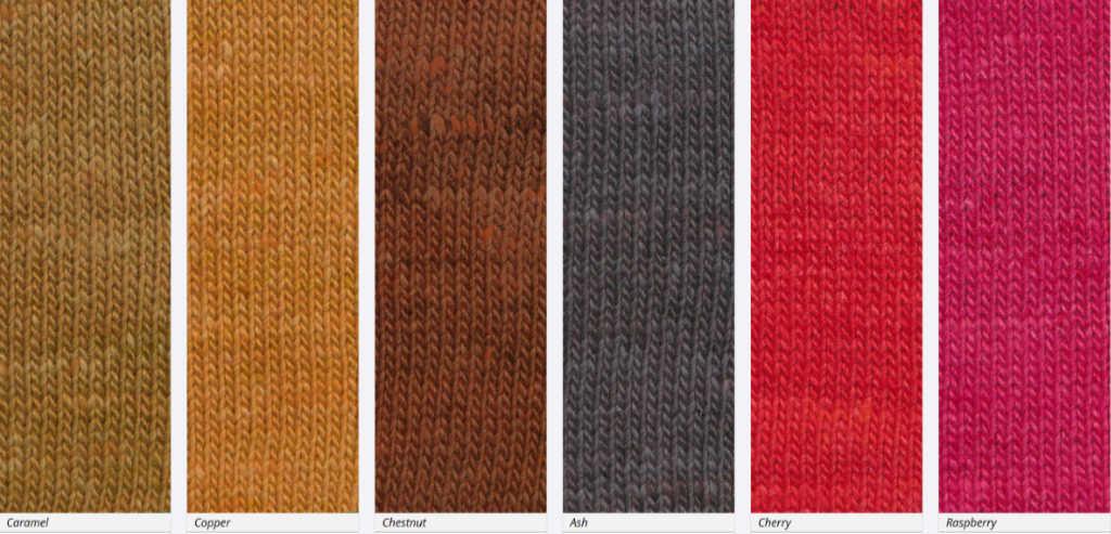 Zweite Teil der Farbpalette des Sonatagarns; hier die Farben #08, #09, #10, #11, #12 und #13 (Noromaniac) #NoroSonata