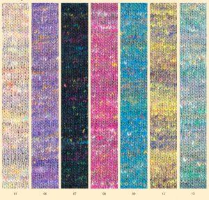 Noro Kakigori, die Noro-Neuheit Frühjahr-Sommer 2021 in 7 Farben. Ein Sologarn mit Farbsprenkeln.